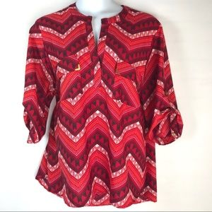 Tribal Pattern Gold Embellished Pull Over Shirt
